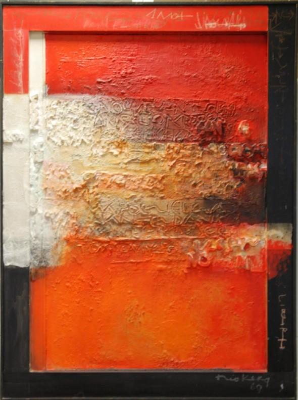 1969 Hommage à Paul Eluard, technique mixte sur toile,110,4 x 151 cm, collection Musée d'art moderne André Malraux Le Havre, exposée au Cercle-Cité en 2013-2014