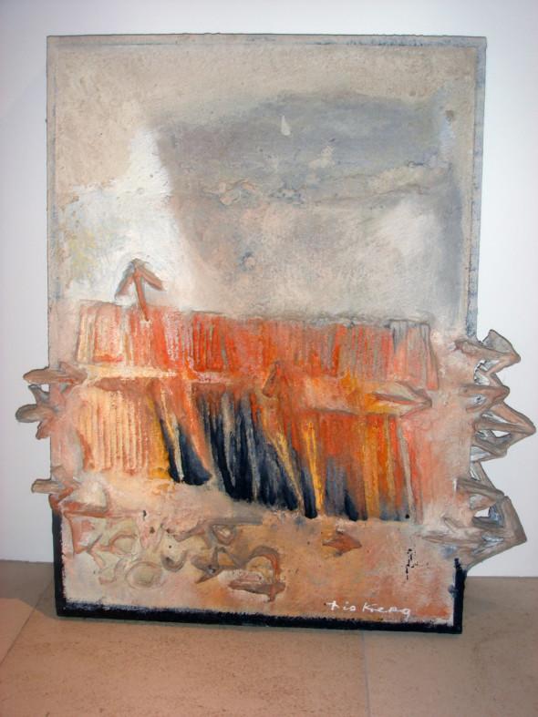 1977 Le camp s'ouvre, 1960-1977, œuvre tactiliste sur toile, 68 x 60 cm