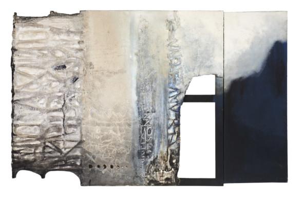 1979 L'écho du silence, 1969-1979, œuvre tactiliste sur toile avec arrachage de la toile, 157 x 100 cm, oeuvre exposée au Cercle-Citée en 2013-2014