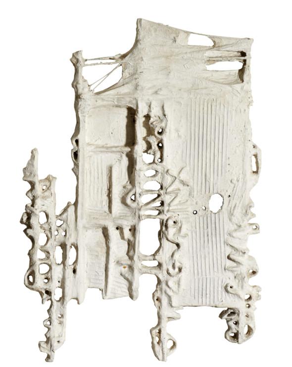 1977 Message tactiliste (Auflösung) 94 x 68 cm, œuvre tactiliste sur toile et bois, 68 x 94 cm, exposée au Musée National d'Histoire et d'Art (MNHA) en 2013-2014