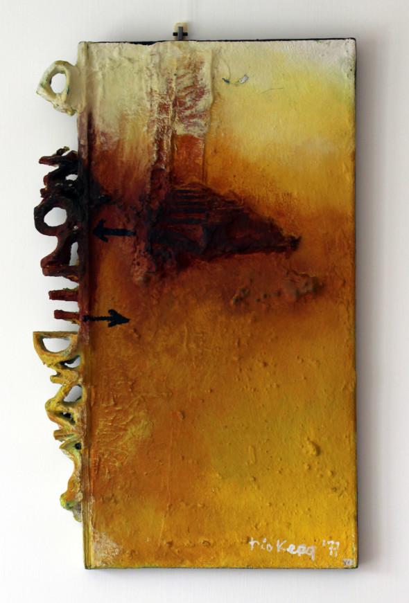 1977 Vers un mot en marge, œuvre tactiliste sur toile, 60 x 36 cm