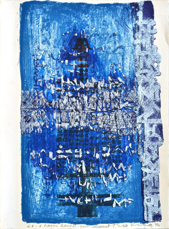 1974 Sérigraphie avec dédicace à Hans Bäurle amicalement, sérigraphie