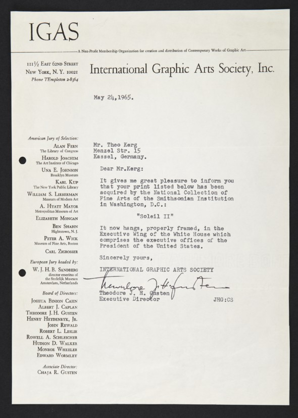 1964-1965 Lettre IGAS