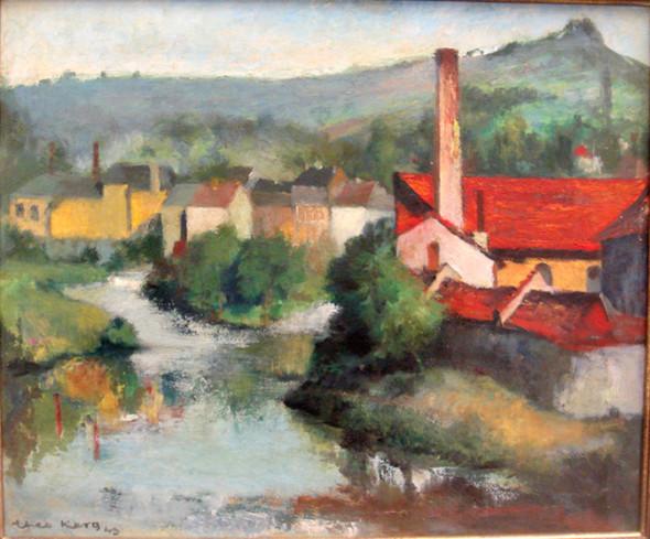 1943 La Sûre à Ettelbrück, huile sur panneau, 46 x 38 cm