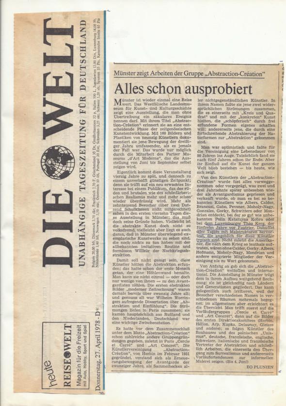 1978 Die Welt (27.4) Article de presse lors de l'exposition abstraction-création à Münster au Westfälisches Landesmuseum