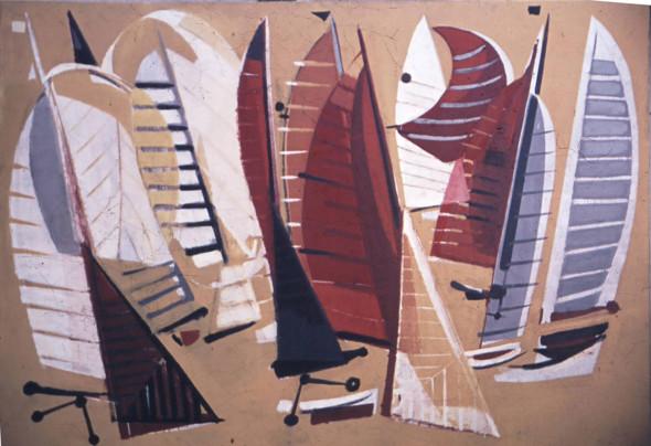1955 Le Départ, Carton de tapisserie, 206 x 148 cm