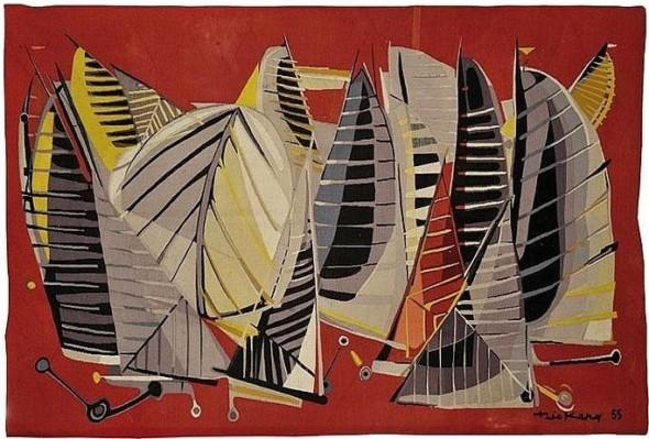 1955  La Mêlée, carton de tapisserie, 180 x 260 cm, édition Goubeley-Aubusson et Galerie Bellechasse, Paris