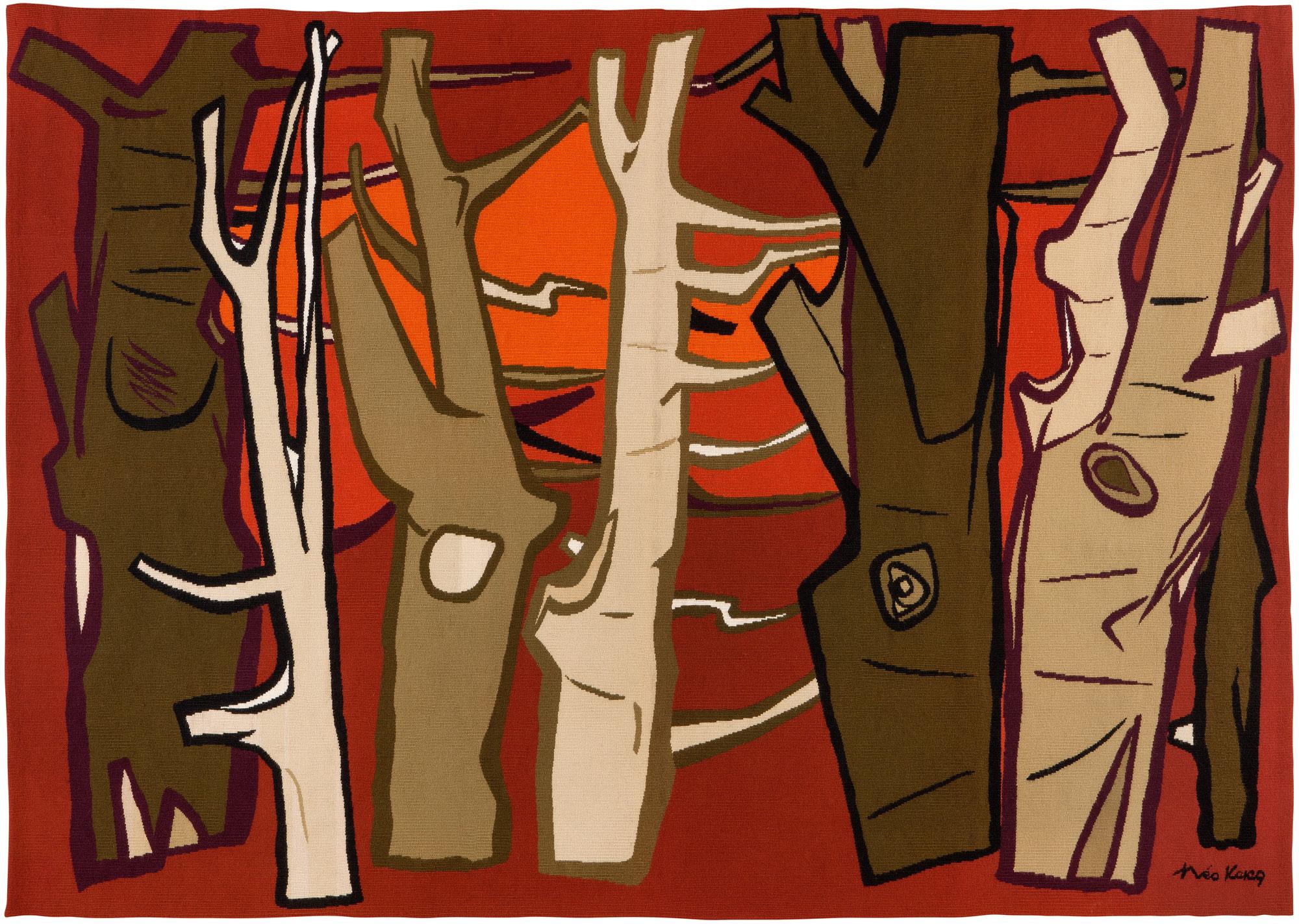 1955 La Forêt, tapisserie, 212 x 147 cm, carton Théo Kerg, éditeur Mme. Suzanne-Goubley, Aubusson, collection Abbaye-école de Sorèze-Musée Dom Robert