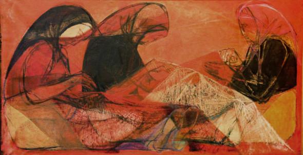 1948 Remailleuses de Villefranche en Concertino (80×150) cm, huile sur toile