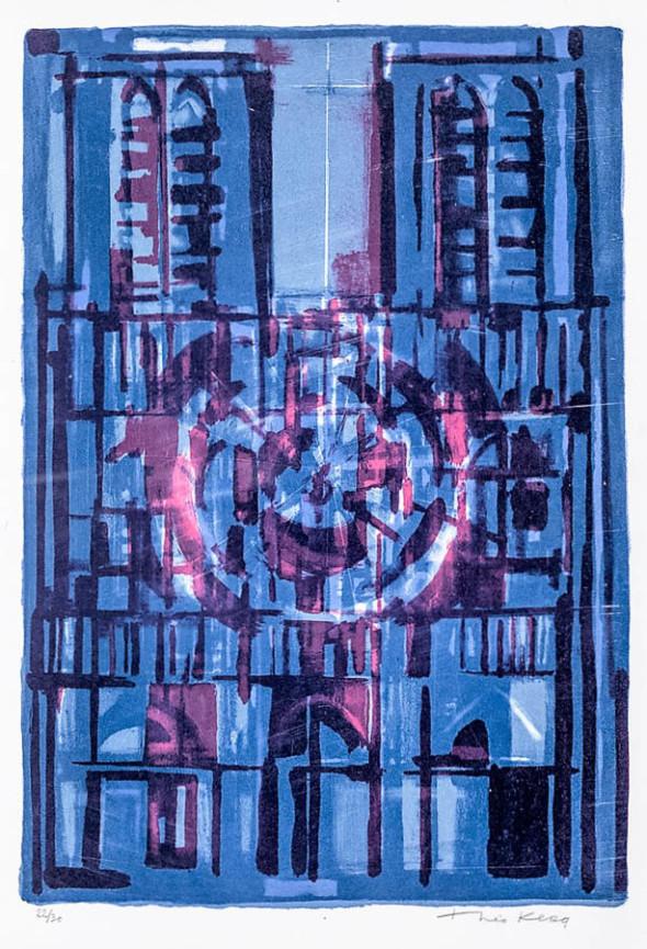 1949 Cathédrale bleu-gris-rouge (57×38,5) 6/6