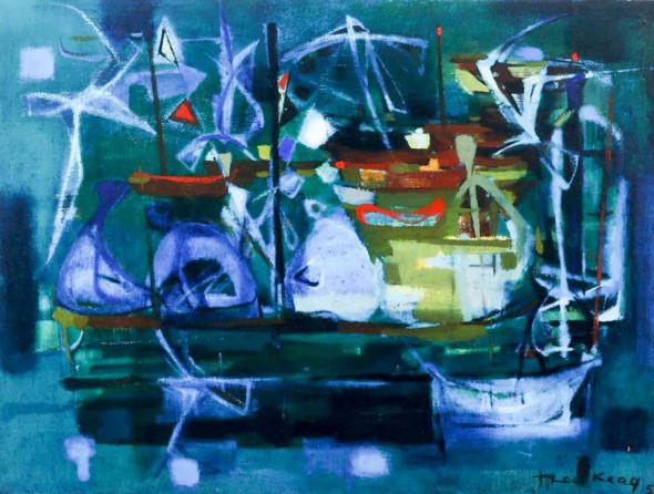 1950 L'Attente, huile sur toile, (60 x 81 cm)