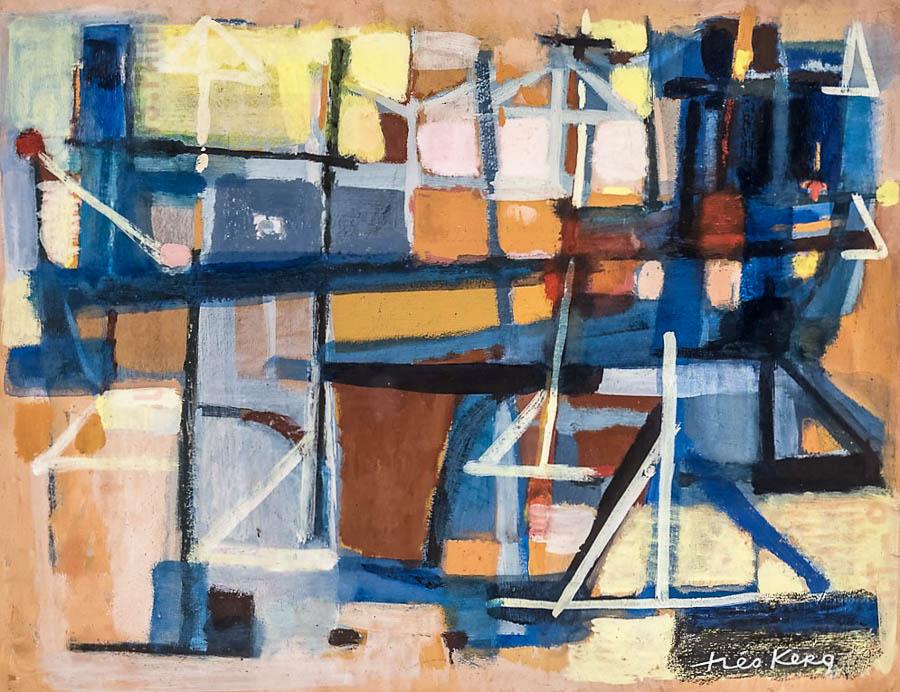 1954  Au port de Cannes, gouache sur carton, 39×50 cm
