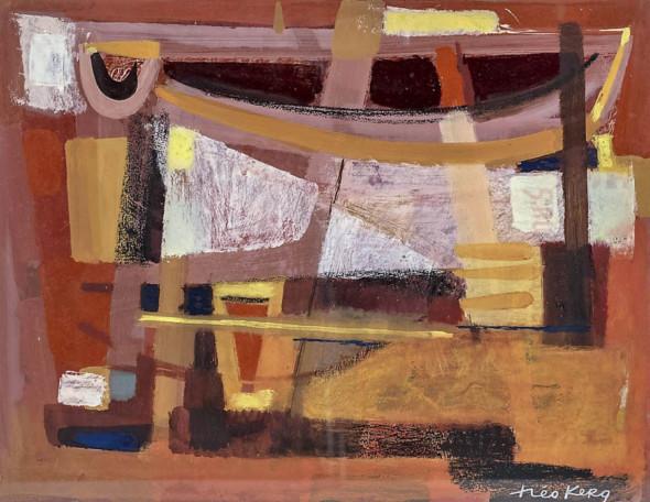 1954 Bateaux et filets, gouache sur carton, 40,5 ×52,5 cm
