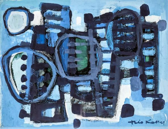1955 Regate 1 bleue, gouache sur carton, 40,5×52,5 cm