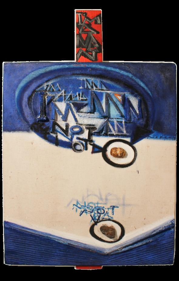 1970 I am a man, not a stone, oeuvre tactiliste sur toile, (107 x 65 cm)