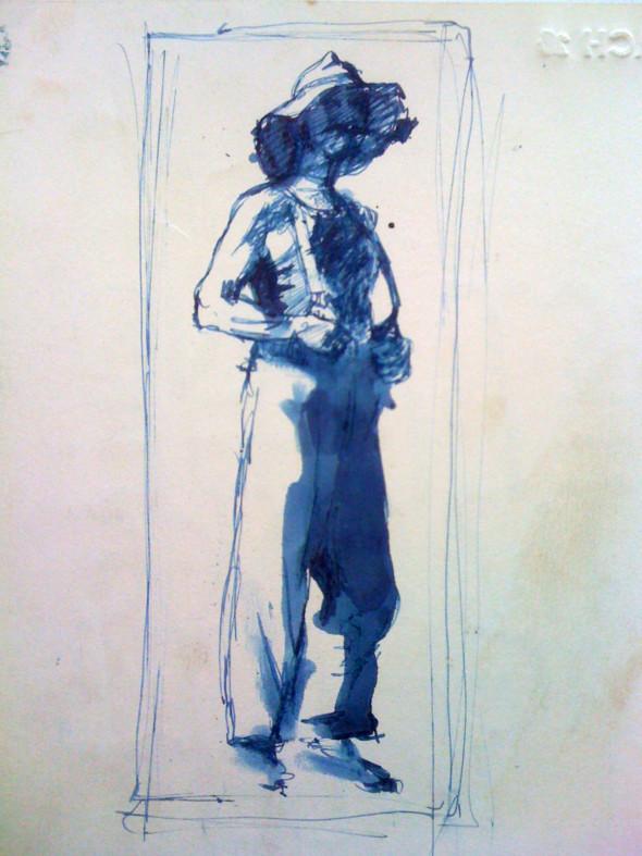 1943 Den Eisenbatti vun Remich, dessin préparatoire pour tableau du même nom