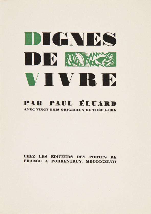 1947 01 Dignes de vivre par Paul Eluard, couverture de livre.