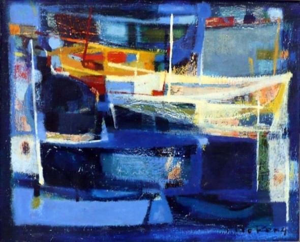 1952 Filets et barques, huile sur toile, 38×46 cm, F8