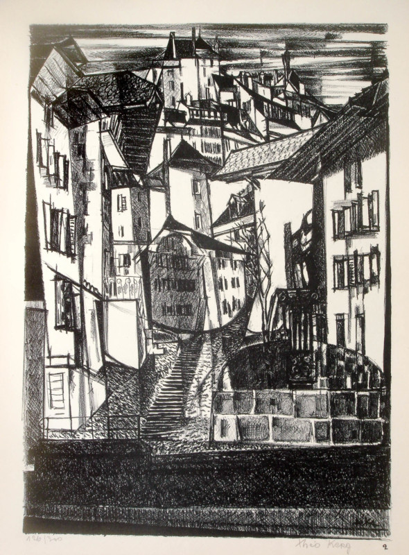 1947  Fribourg 02, Mosaique élancée, litho, 1.10.1947