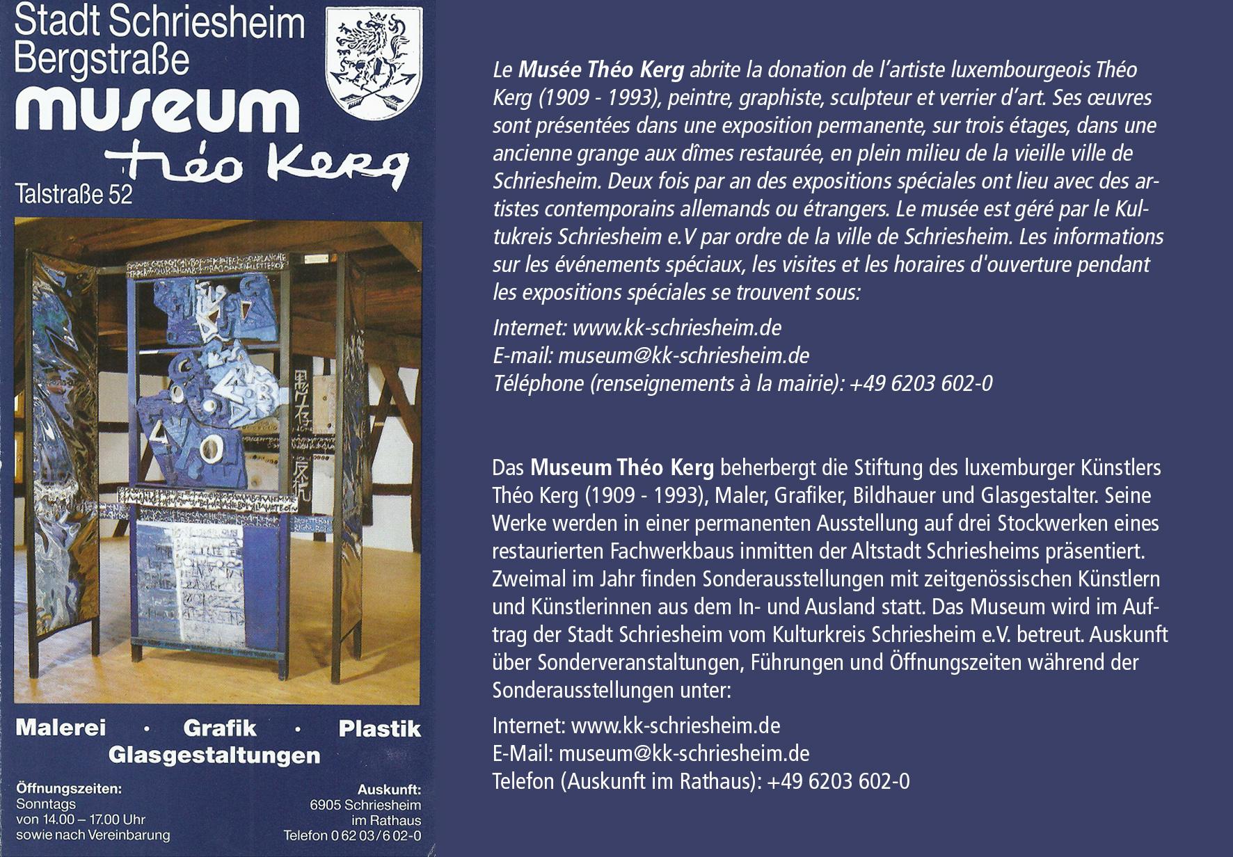 01 – Museum Théo Kerg, Talstraße 52, D-69198 Schriesheim – Exposition permanante