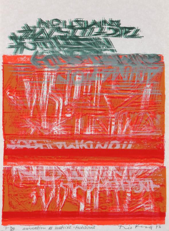 Théo Kerg, animation de matière = tactilisme, Litho 7-20, 1973, Kunstmuseum Bayreuth