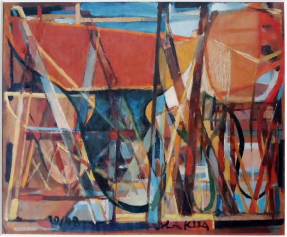 1948 Yachts en calles sèches – 45x37cm – huile sur carton