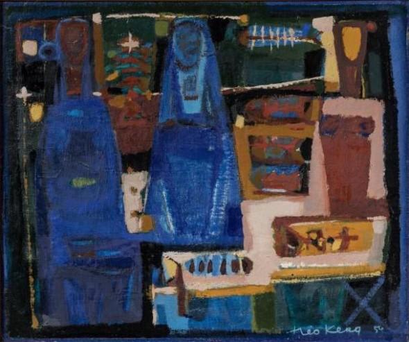 1954 Théo Kerg, 55×46, huile sur toile – trois femmes
