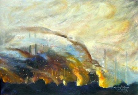 1929 Usines de Differdange, huile sur toile