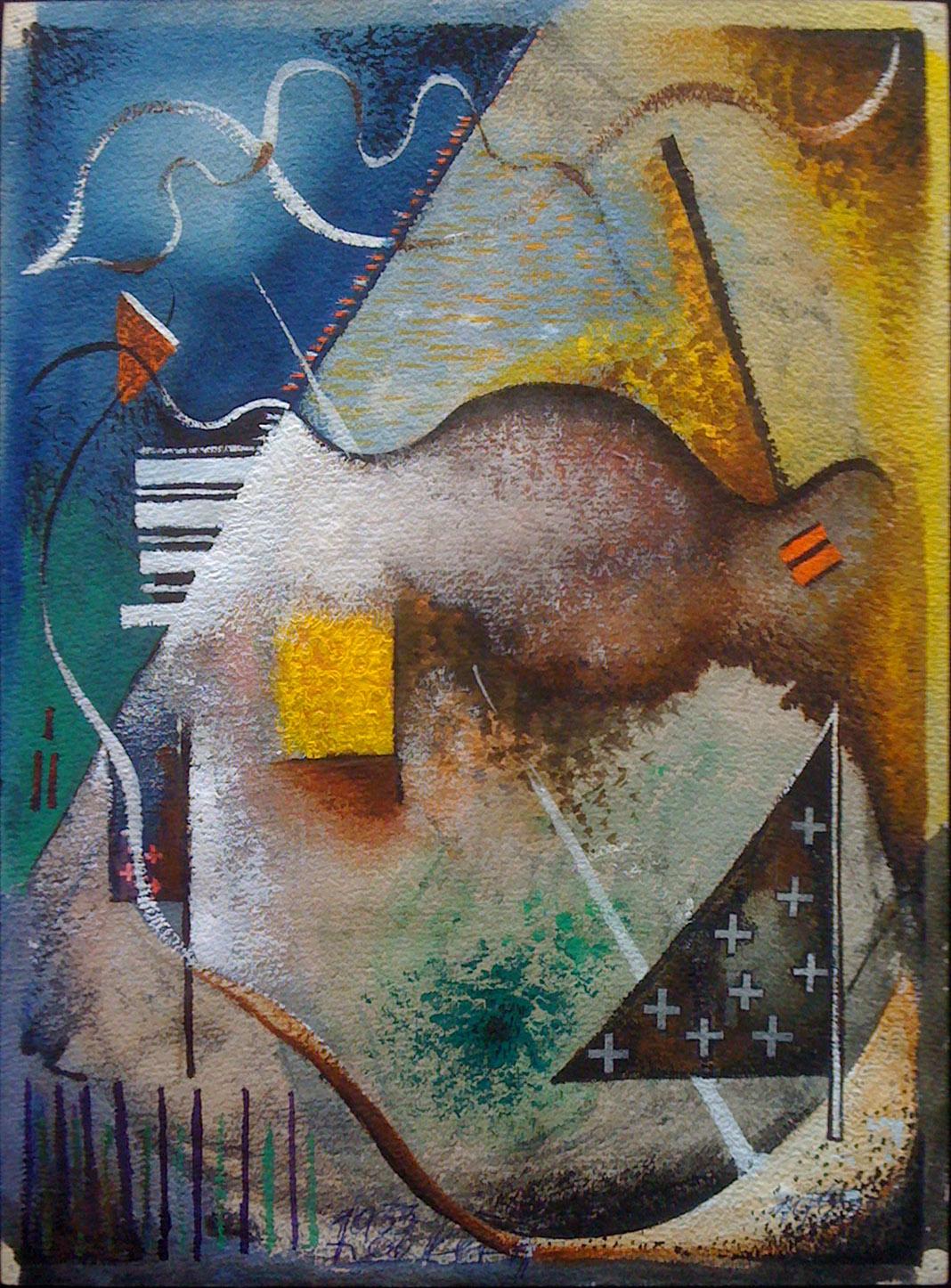 1933  Composition abstraite, aquarelle sur carton, 31 x 23 cm