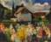 1941 Vue d'un village luxembourgeois, huile sur panneau