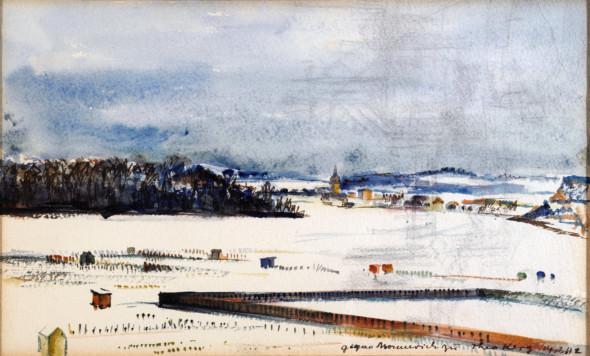 1942  Vue vers Monnerich, à partir de la rue J.P.Michels à Esch-sur- Alzette,  aquarelle du 14 février 1942