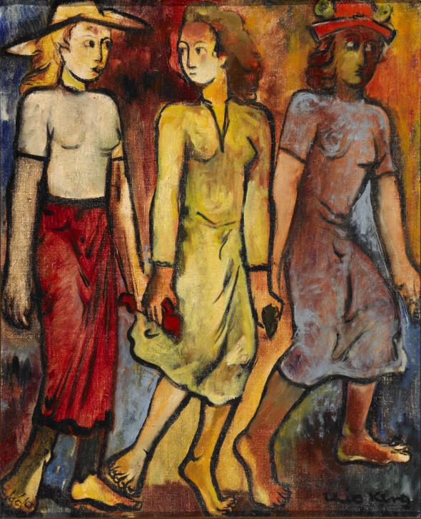 1940 Souvenir de la procession dansante d'Echternach, huile sur toile