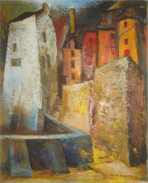 1943 rue Mohrfels Luxembourg, huile sur carton ,35×43 cm