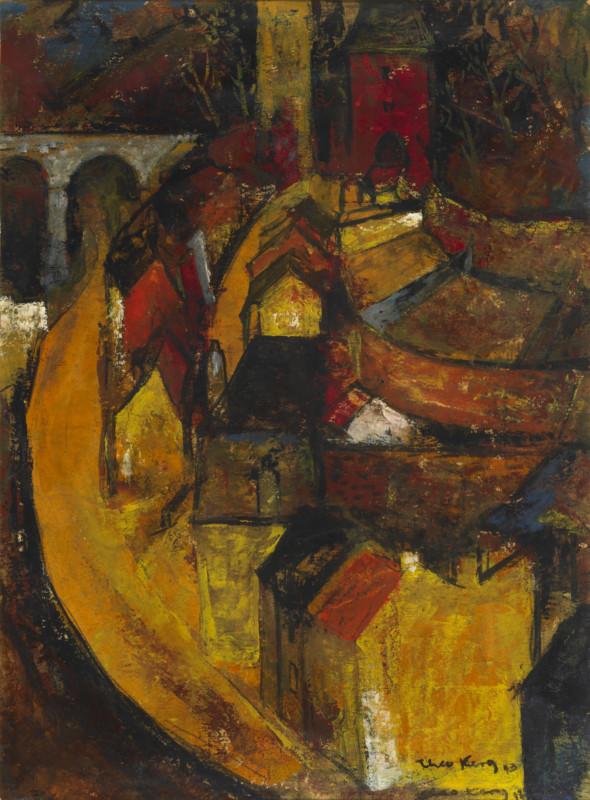 1943 Vue sur le quartier du Grund à Luxembourg-ville,huile sur carton