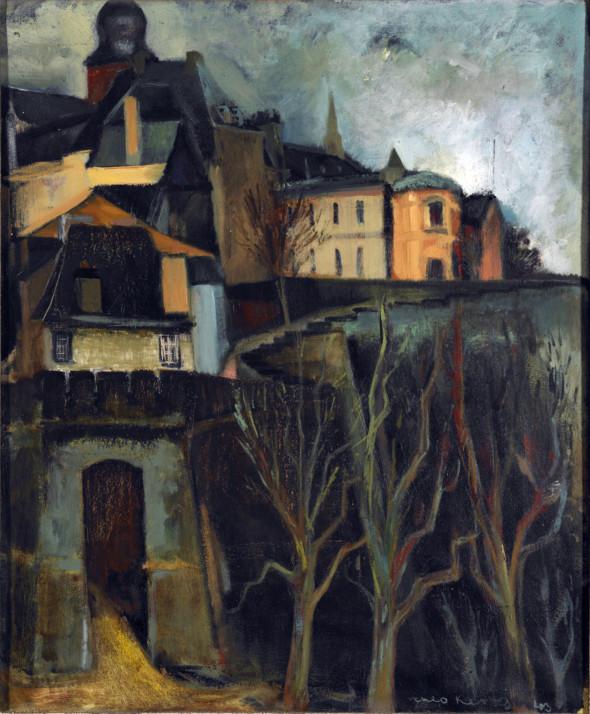 1943 Vue sur le chemin de la corniche à Luxembourg-ville, huile sur toile