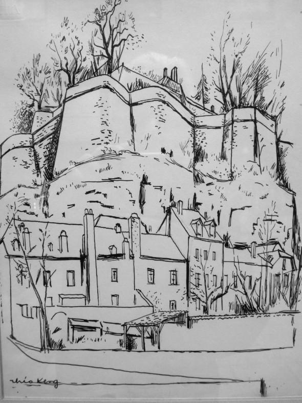 1944 Dessin, des vestiges de la forteresse à Luxembourg