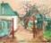 1945 Vue sur des maisons à Givenich en décembre, gouache sur panneau