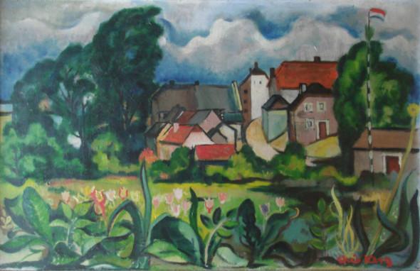 1946 Village aux environs de Diekirch, huile sur panneau