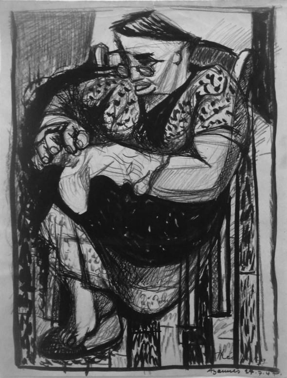 1947 Madame Antoinette Ardizzoia , dessin sur papier fait à Azannes, Meuse, 24 juillet 1947