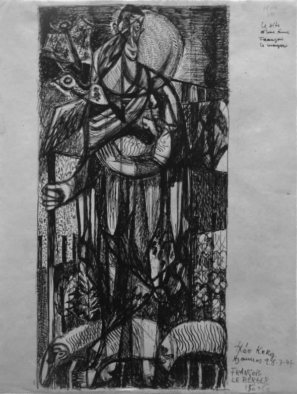 1947 Francois le berger, dessin sur papier fait à Azannes – Meuse – 28 juillet 1947, préparation pour un tableau, 150 x 50 cm
