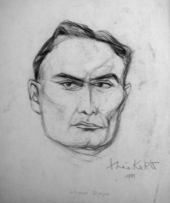 1948 Hervé Bazin, membre de l'Ecole de Rochefort, dessin