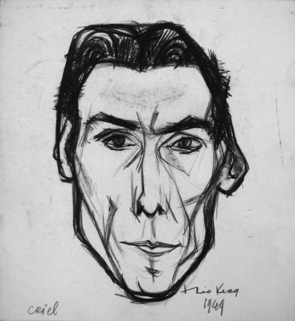 1949 Criel Gaston, membre de l'Ecole de Rochefort, dessin