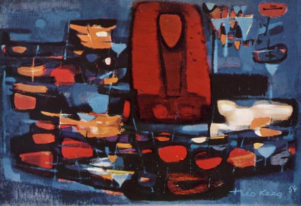 1954 Les fleurs de Simone, huile sur toile,10P, 55×38 cm