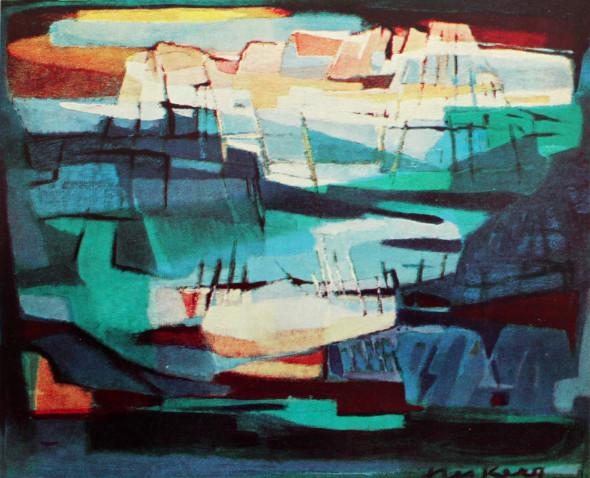 1954 Cimes, huile sur toile, 54 x 65 cm