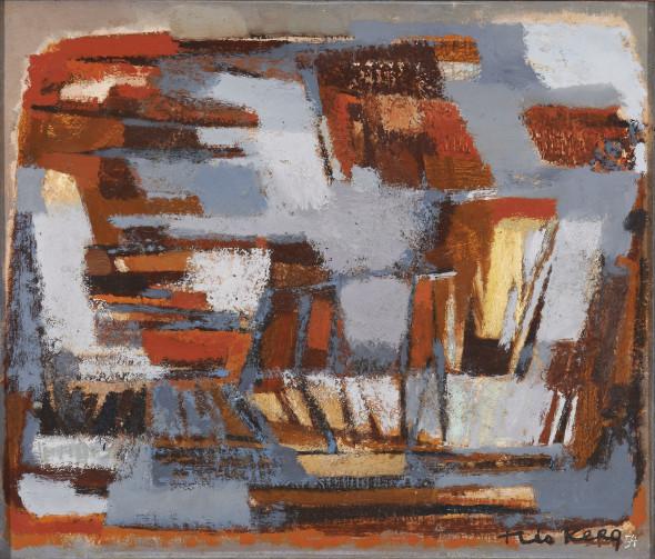 1954 Roches rouges, huile sur toile, 46 x 55 cm, (no 3854), exposée au Musée National d'Histoire et d'Arts (MNHA) en 2013-14