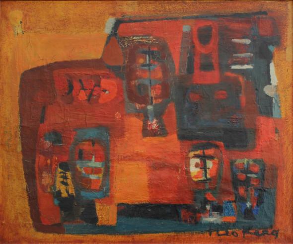 1954 Le soir, huile sur toile (no 2154)
