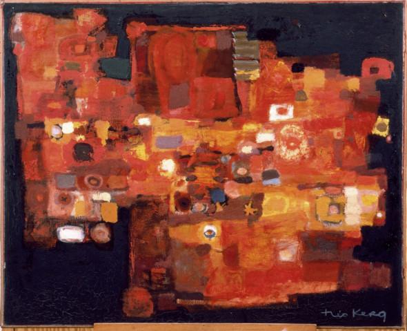 1957 Hommage à Jacques Villon, 1954-57, huile sur toile, 100 x 81 cm, exposée au Musée National d'Histoire et d'Art (MNHA) en 2013-14