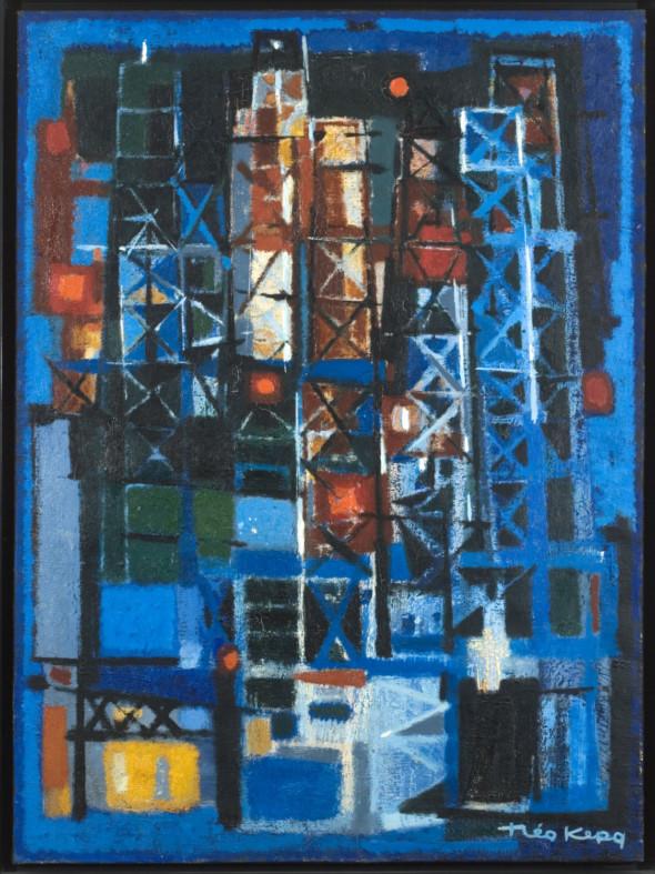 1955   Derricks, huile sur toile, 73×54 cm, (no 5655)