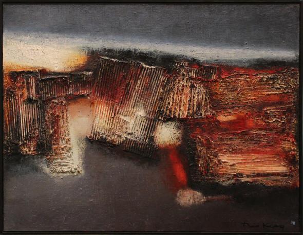 1958 Calciné, œuvre tactiliste sur toile, 89 x 116 cm, collection Von der Heydt-Museum Wuppertal