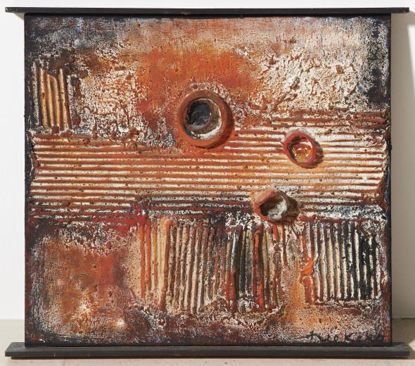 1959 Titre inconnu, oeuvre tactiliste sur toile, 1957-1959, 46 x 38 cm (no 4059), exposée au Musée national d'histoire et d'art de Luxembourg, (MNHA), en 2013-2014